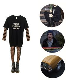 """""""And the violence, caused such silence"""" by melissaemily08 ❤ liked on Polyvore featuring Monki and Dr. Martens"""