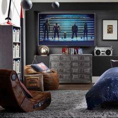 Quarto Adolescente: +95 Ideias e Projetos Originais para 2021 Boys Game Room, Boys Room Design, Teenage Room, Boys Bedroom Decor, Bedroom Ideas, Room Themes, My New Room, Teen Dresser, Gameroom Ideas
