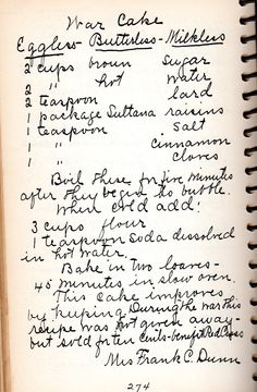 Food Friday: Out of Vermont Kitchens Retro Recipes, Old Recipes, Cookbook Recipes, Vintage Recipes, Dessert Recipes, 1950s Recipes, Easy Desserts, War Cake Recipe, Wartime Recipes