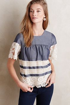 Lace-Dipped Chambray Top #anthropologie