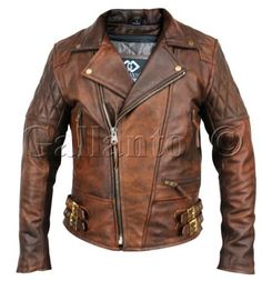 Classic-Diamond-Motorcycle-Biker-Brown-Distressed-Vintage-Leather-Jacket-Armour