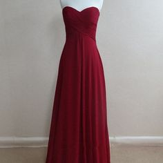 Cheap simple red chiffon bridesmaid dress, long guest party dress,fs3833