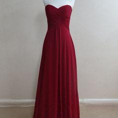 Cheap simple red chiffon bridesmaid dress, long guest party dress,fs3833
