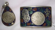 Vintage Sterling #Silver .925 Mexico Belt Buckle + Pendant Mayan Inlay Theme