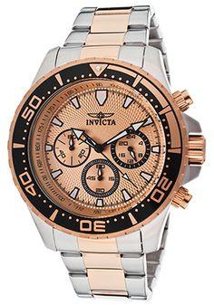 Invicta 12917 Watches,Men's Pro Diver Chrono Two-Tone SS Rose-Tone Textured Dial, Diver Invicta Quartz Watches
