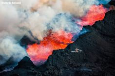 Flying over a volcanic eruption in Iceland