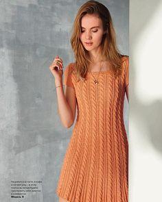 Модное летнее платье спицами. Связать летнее платье косами спицами