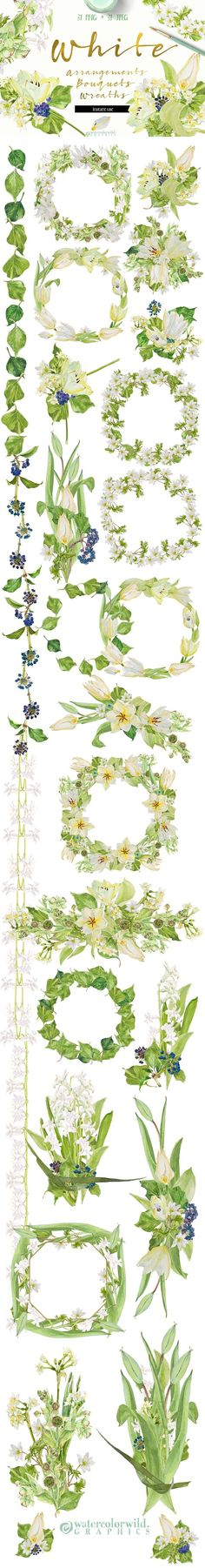 White Bouquets&Wreaths in watercolor by watercolorwild.graphics on @creativemarket