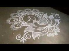 Beautiful Peacock rangoli design//lotus peacock rangoli design//easy free hand rangoli - YouTube Lotus Rangoli, Peacock Rangoli, Rangoli Designs Flower, Kolam Designs, Diwali Drawing, Free Hand Rangoli Design, Muggulu Design, Education Architecture, Simple Rangoli