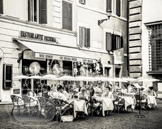 Street Cafe Photo. Rome Italy Photograph. Pizza. Black by cklausen, $28.00
