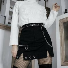 SUCHCUTE zipper up women skirts metal chain Modis gothic mini skirt A line black spring 2020 streetwear female party outfits on AliExpress Grunge Outfits, Edgy Outfits, Mode Outfits, Korean Outfits, Girl Outfits, Fashion Outfits, Party Outfits, Grunge Party Outfit, Female Outfits