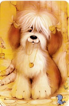 vintage SWAP CARDs 1970s Blank back puppy dogs English sheepdog? terrier?  Bird