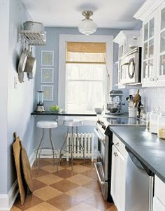 Lily Adams : Blue Kitchens and a Royal Wedding, narrow bar table by radiator and window might work for us.