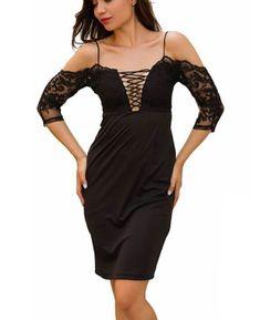 Lace Spaghetti Straps Bodycon Dress(Black) | Seamido