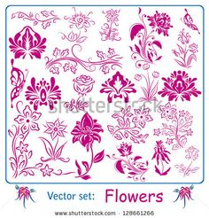 art nouveau iris design | Vector set: Flowers - stock vector