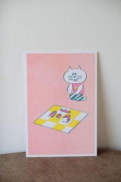 ニシワキタダシ ポストカード「食べかけのパンを売る」