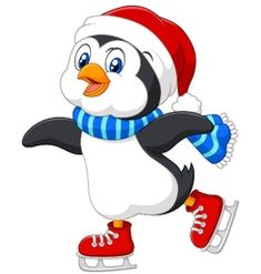 Cute cartoon penguin doing ice skating isolated vector Penguin Cartoon, Penguin Art, Cute Cartoon, Christmas Yard Art, Snoopy Christmas, Christmas Crafts, Pinguin Drawing, Stitch Games, Penguins And Polar Bears