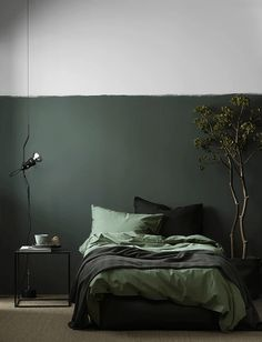 Best bedroom paint colors, Home decor trends Monochrome bedroom, Home decor trends, Bedroom green, Bedroom interior - Calling all colorobsessed decorators You& want to try this saturated trend - Bedroom Green, Green Rooms, Home Bedroom, Olive Bedroom, Bedroom Wall, Bedroom Plants, Bedroom 2018, Green Bedding, Bedroom Black