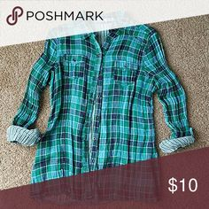 Maurices Plaid Button Down Maurices Blue and Green Plaid Button Down, sz Large Maurices Tops Button Down Shirts