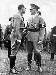 Hitler and Rudolf Hess, 1937. By that time, Hess was losing influence in the brutal internal war around Hitler.: