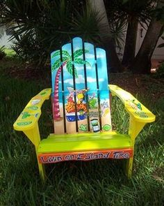 Image detail for -... Detail - Key West Hand Painted Parrot on Beach Adirondack Chair