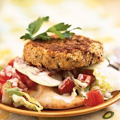 Open-Faced Falafel Burgers This Middle Eastern vegetarian sandwich is typically stuffed in a pita, but our version offers a more eye-catching presentation. Garnish with parsley - love me some falafel! Veggie Recipes, Vegetarian Recipes, Cooking Recipes, Healthy Recipes, Vegetarian Sandwiches, Vegetarian Lifestyle, Vegetarian Barbecue, Cooking Bacon, Hamburger Recipes