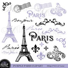 PURPLE PARIS Theme Clipart Digital Clip Art Vintage Paris Printable Clipart - Instant Download