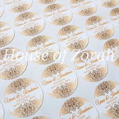 Personalised White and Gold Vintage Wedding Party Thank You Stickers Labels  | eBay