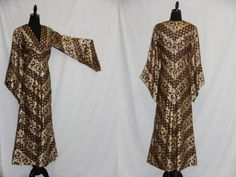 Vintage Maxi Dress Brown w Gold Metallic Thread Chevron Pattern