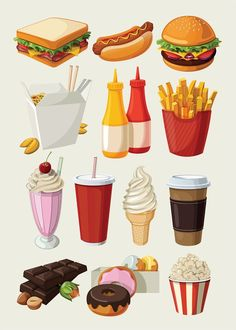 Set of colorful cartoon fast food icons: