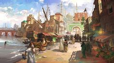 Medieval Fantasy Port by LotharZhou on DeviantArt This imaginary concept art is for a commission. I am trying to capture the strong sun light and heat in a busy Moroccan port. Artrage only. Fantasy Artwork, Fantasy Art Landscapes, Fantasy Concept Art, Fantasy Landscape, Landscape Art, Fantasy Town, Fantasy Castle, Medieval Fantasy, Fantasy World