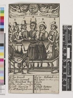 """The devil and and eleven men seated around a table; over their heads two devils draw back curtains held up by the shields bearing the cross of St George and an Irish harp. Each figure is identified by letters A-M corresponding to a key beneath, all are regicides except for the last two, chaplains who supported the execution of Charles I: the Devil, Oliver Cromwell, John Bradshaw (described as """"Pres"""" with reference to his position as lord president of the high court of justice during the…"""
