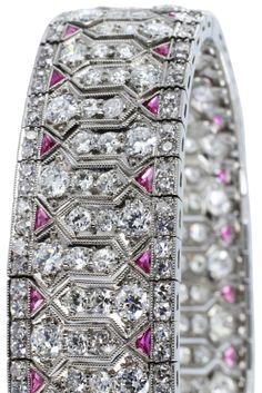 Art Deco Diamond  Ruby Bracelet. Art Deco platinum bracelet consisting of approximately 25 carats of Old European cut diamonds and approximately 2.70 carats of calibre cut rubies. Via 1stdibs.