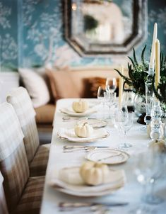 Mark D. Sikes & Michael Griffin's Thanksgiving-themed table decorated with petite white pumpkins.