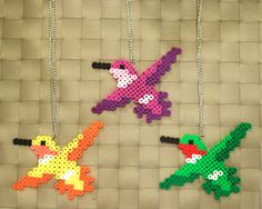 Hummingbird Perler Necklaces and Magnets by merkittenjewelry