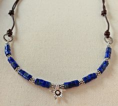 Lapis lazuli necklace with adjustable leather cord by RocksByVan