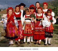 Group of Children in the Traditional Costume of Costa Verde Northern Portugal Stock Photo