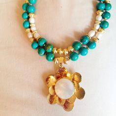 Madre perla turquesa y perlas