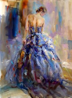 blue gown and violin