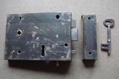 Victorian Steel Cased Lockable Rim Latch with Privacy Bolt Circa 1850