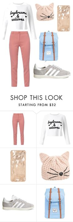 """Salmon Stuff"" by thewmik ❤ liked on Polyvore featuring WtR London, Miss Selfridge, Karl Lagerfeld, adidas and Herschel Supply Co."