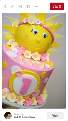 You are my Sunshine Birthday Party Food Ideas and Recipes A bite of any of these food ideas will surely brighten up the day of your beloved family and friends who came to party. You are my Sunshine Birthday Party Cakes and Cupcakes Baby Girl 1st Birthday, First Birthday Parties, Birthday Party Themes, First Birthdays, Birthday Ideas, Cake Birthday, Birthday Crafts, 21st Birthday, Sunshine Birthday Cakes