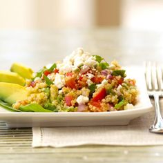 Greek Quinoa and Avocados - Fitnessmagazine.com - I would decrease the avocado to one and add some grilled chicken for a one bowl meal or take to potluck as a salad/vegetarian dish