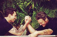 adam levine + blake shelton...wayyyyy too much hotness for one picture.