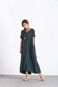 Dresses – Linen Cotton Casual Loose caftan Maxi dress A89 – a unique product by oversizedress on DaWanda