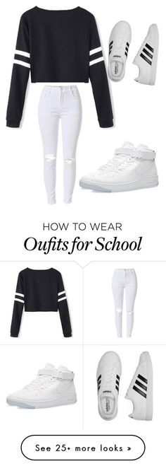 """School outfit"" by kakeighgriffin on Polyvore featuring NIKE and adidas"