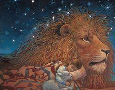 Lion of Judah and girl curled up to Him asleep. Prophetic art. Art of Richard Jesse Watson | Watson's Paintings of People