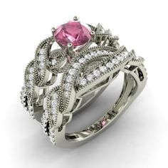 Round Pink Tourmaline Ring in 14k White Gold with SI Diamond