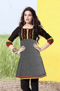 Description: Buy black cotton printed kurti with best price at Variation. Huge collection of designer kurtis online shopping, printed kurtis, Indo Western kurtis and tunics of latest designs. Product