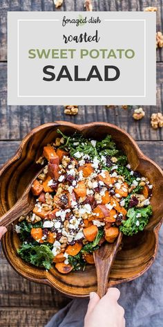 Roasted sweet potatoes are served in a salad with kale, dried cranberries, walnuts, and goat cheese. A salad recipe even veggie-haters will adore!